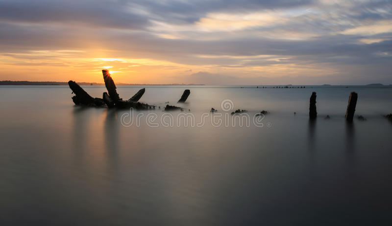 Das ruinierte Schiff, Thailand stockfotografie