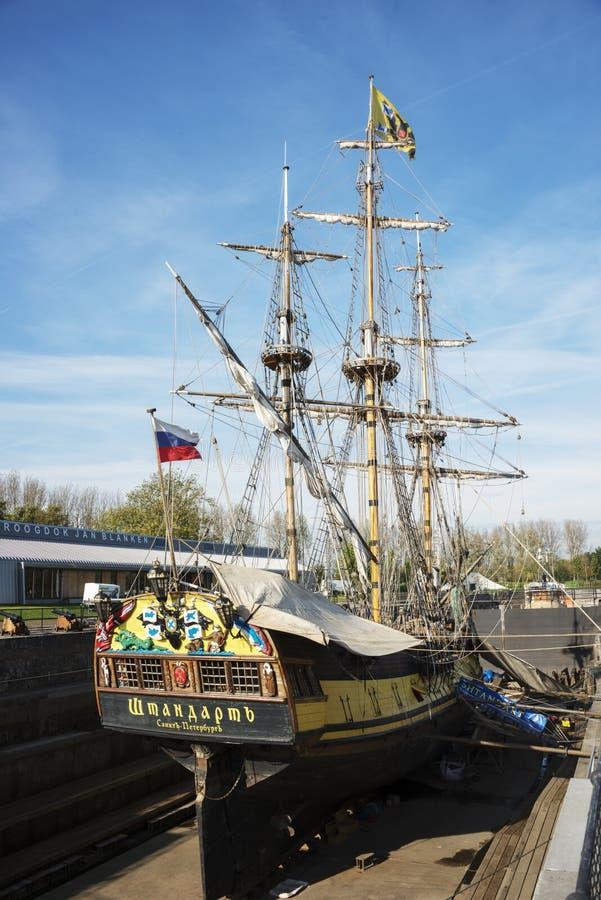 Das russische frigat Shtandart für Erneuerung lizenzfreie stockbilder
