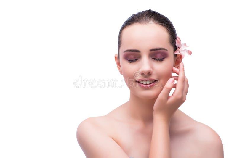 Das schöne Gesicht der jungen Frau lokalisiert auf Weiß lizenzfreies stockfoto