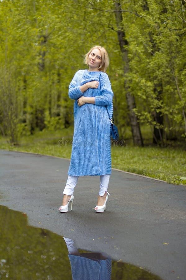 Das schöne Mädchen in einem schönen Strickkleid Art und Mode lizenzfreie stockbilder