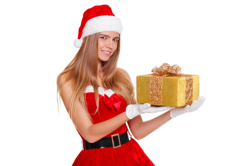 Das schöne sexy Mädchen, das Weihnachtsmann trägt, kleidet mit Weihnachtsgeschenk stockbild