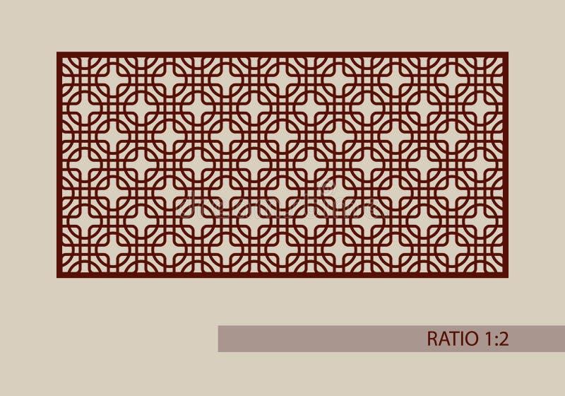 Das Schablonenmuster für Laser, der dekorative Platte schneidet vektor abbildung