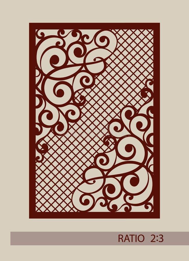 Das Schablonenmuster für Laser, der dekorative Platte schneidet lizenzfreie abbildung