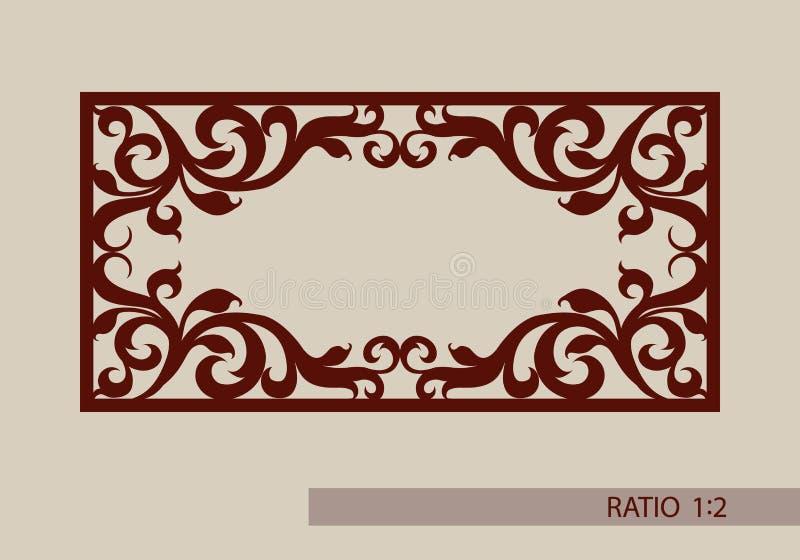 Das Schablonenmuster für Laser, der dekorative Platte schneidet stock abbildung
