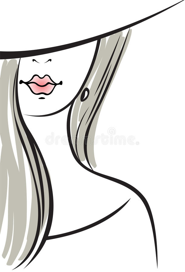 Das Schattenbild der Frau mit dem grauen Haar stockfotografie