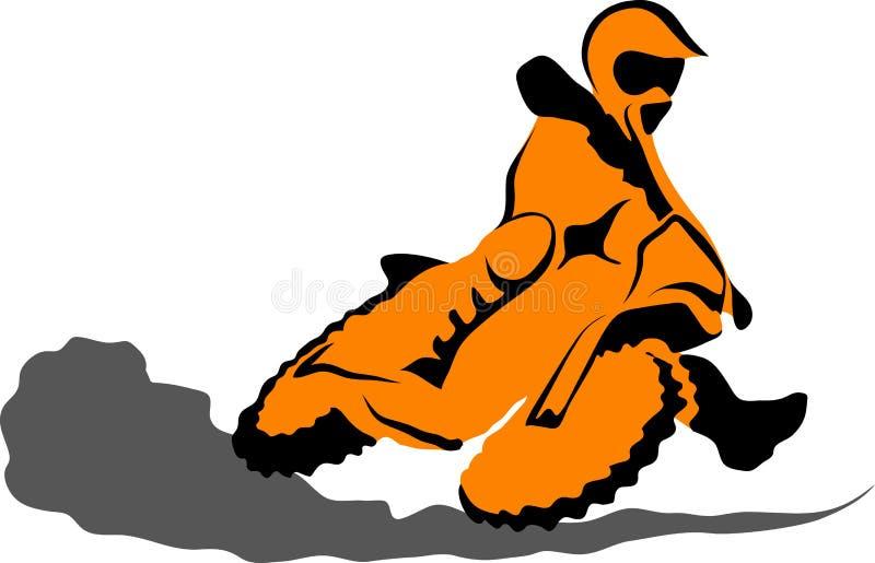 das Schattenbild der Motorradreiter im Himmel stock abbildung