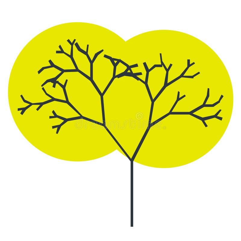 Das Schattenbild eines Baums mit einem Stamm und der Niederlassungen mit abstrakten Blättern Farbvektorikone lizenzfreie abbildung