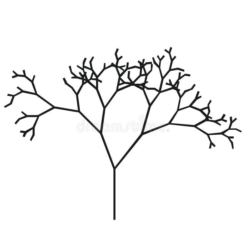 Das Schattenbild eines Baums mit einem Stamm und der Niederlassungen ohne Blätter Schwarzweiss-Vektorikone stock abbildung