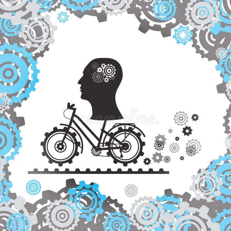 Das Schattenbild eines menschlichen Kopfes mit einem Mechanismus im Gehirn auf einem Fahrrad, unter den Gängen Regenbogen und Wol vektor abbildung