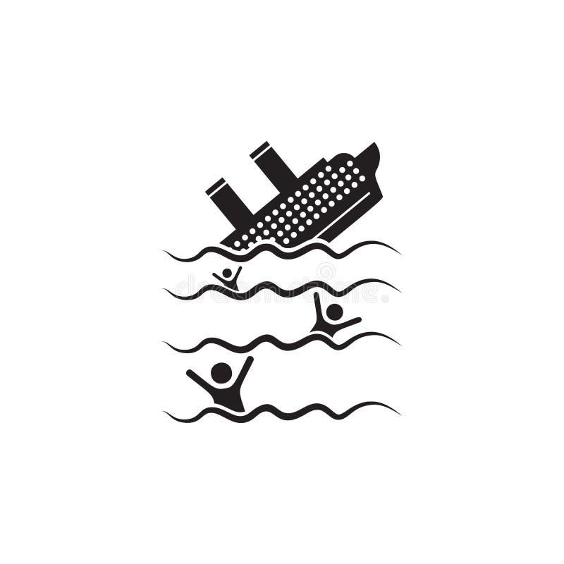 das Schiff sinkt Ikone Element der Schiffsillustration Erstklassige Qualitätsgrafikdesignikone Zeichen und Symbolsammlungsikone f vektor abbildung