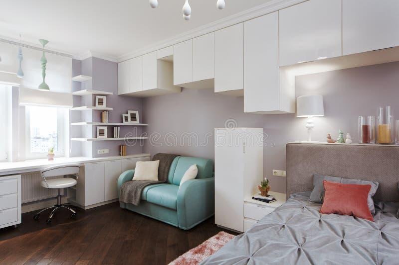 Das Schlafzimmer der helle Innenkinder mit einem großen Bett und einem kleinen s stockbilder