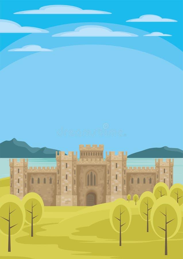 Das Schloss durch das Meer stock abbildung