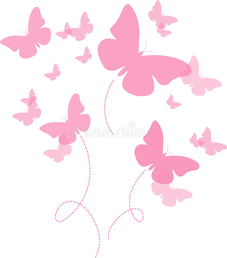 Das Schmetterlingsrosa lizenzfreie abbildung