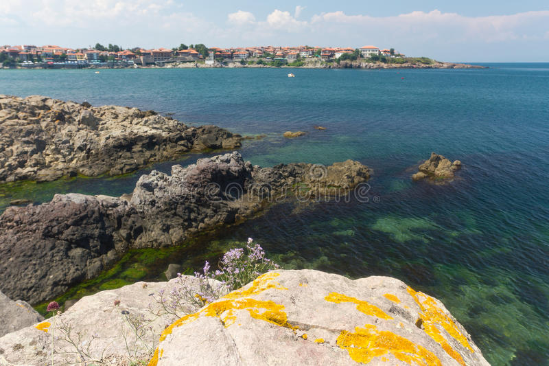 Das Schwarze Meer in Sozopol, Bulgarien lizenzfreie stockfotos