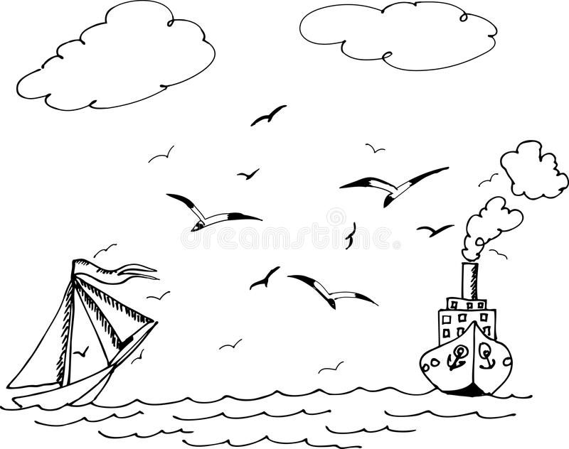 Das Segelboot und das Schiff Seemöwen, die über die Wellen fliegen lizenzfreie abbildung