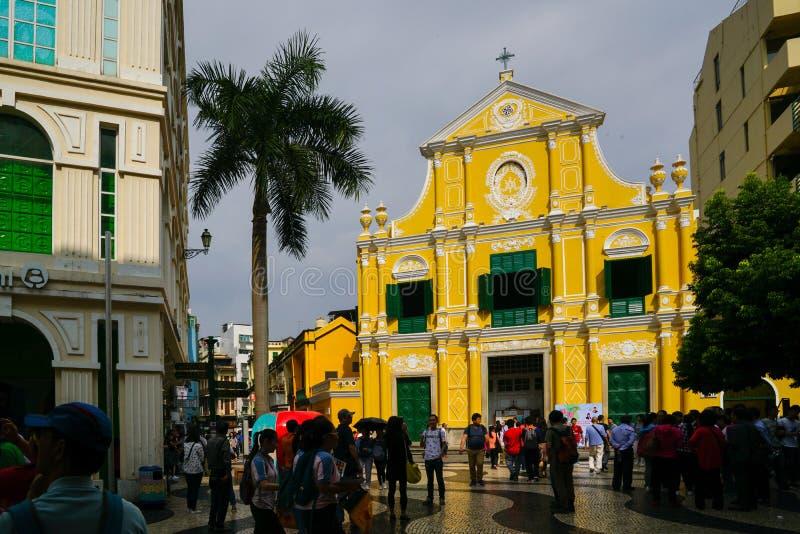 Das Senado-Quadrat in Macau, China Berühmter Touristenmarkstein stockfotos