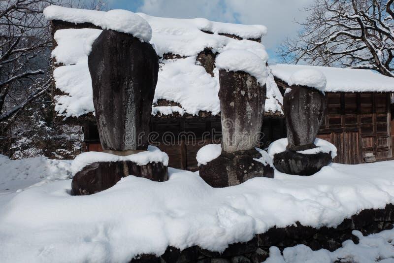 Das Shirakawago-Dorf im Winter, Japan stockfotografie