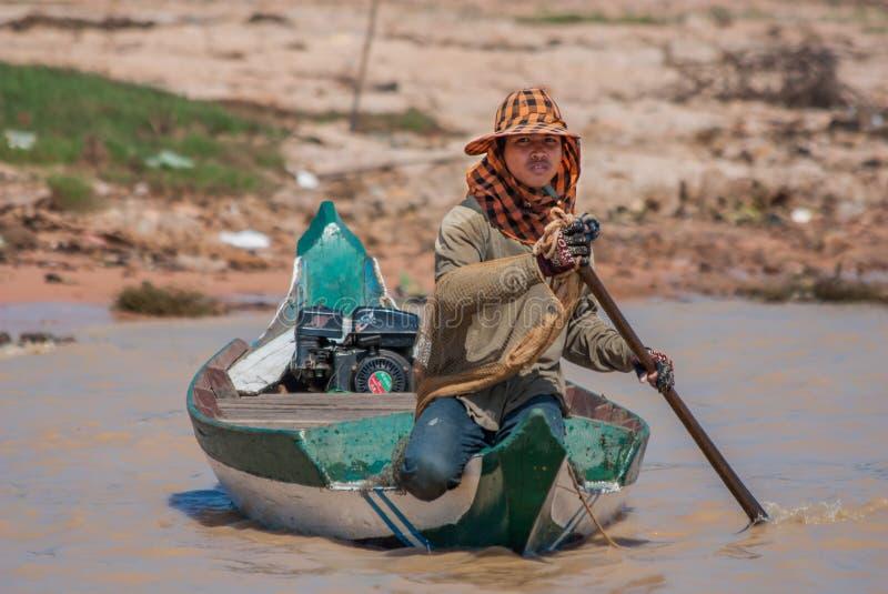 Das sich hin- und herbewegende Dorf von Tonle-Saft, Kambodscha stockbild