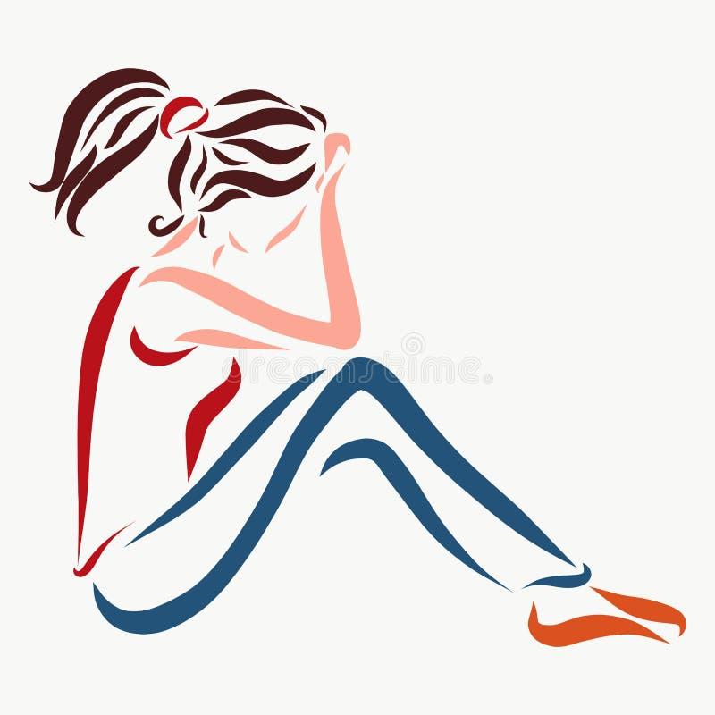 Das Sitzen der jungen Frau, denkt oder traurig stock abbildung