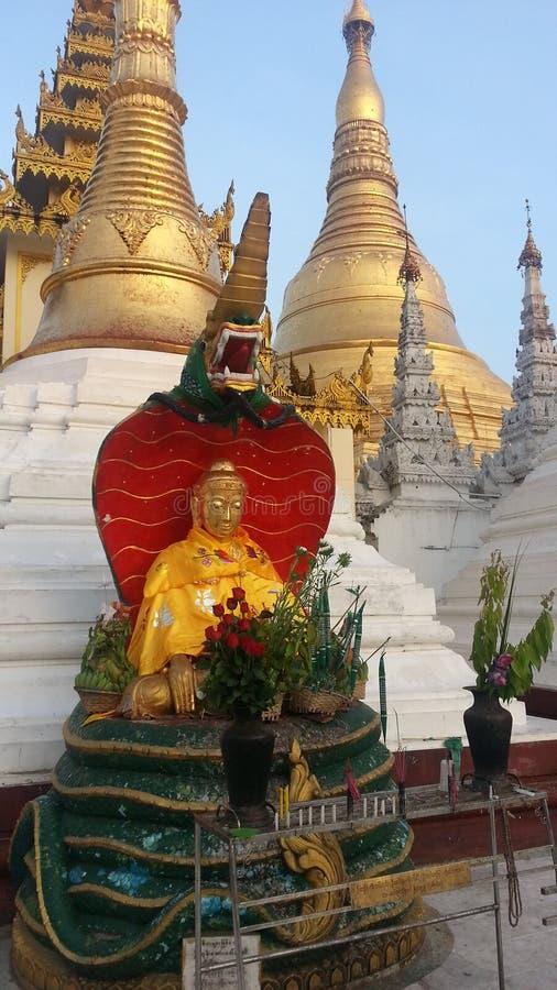 Das sitzende Buddha-Bild mit Naga lizenzfreies stockbild