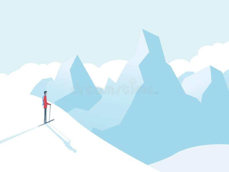 Das Ski fahren in den Bergen vector Illustration mit Skifahrer und hohe Spitzen im Hintergrund Wintersportlandschaft lizenzfreie abbildung
