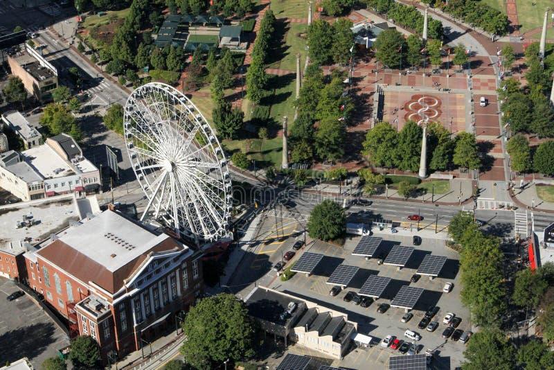Das Skyview und der hundertjährige Park, Atlanta, GA stockbild