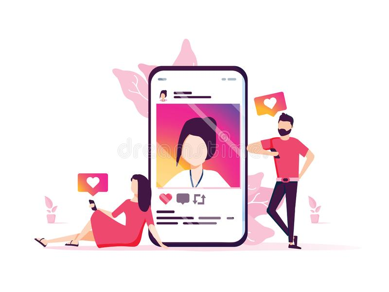 Das Social Media, das Vektorkonzeptillustration, glückliche Frau und Männer vermarktet, gibt wie Kommentar zum Sozialen Netz stock abbildung