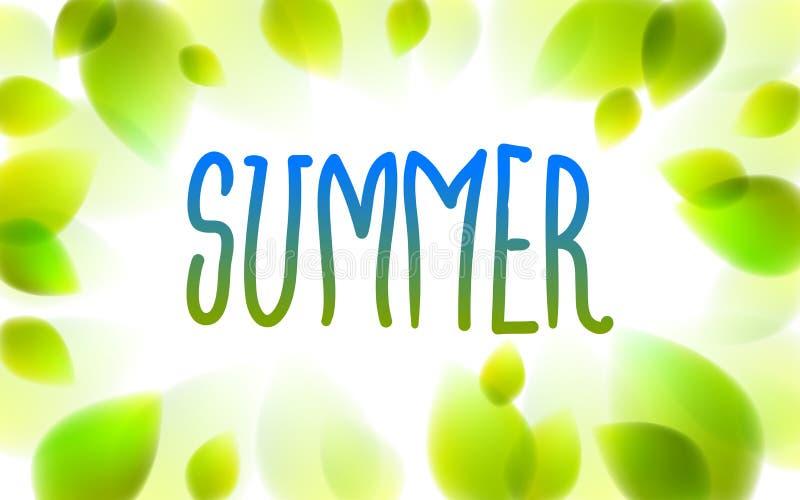 Das Sommerwort, das auf ein Fenster, neues Grün gezeichnet wird, lässt unscharfen Hintergrund, realistische Illustration des Vekt stock abbildung