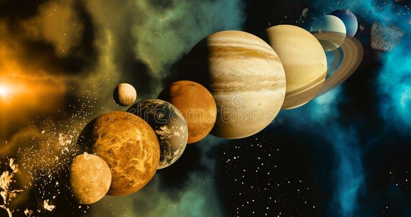 Das Sonnensystemplanetenkonzept über galaktischem Hintergrund und Milchstraßesonnensystem Mercury, Erde und Mond, Venus, Mars, stock abbildung