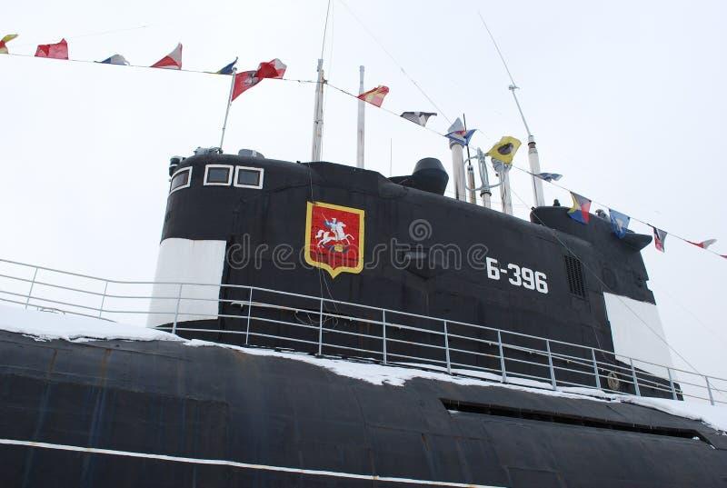 Das sowjetische elektrische Dieselunterseeboot B-396 im Museumskomplex ?ffnete sich auf dem Khimki-Reservoir lizenzfreies stockfoto