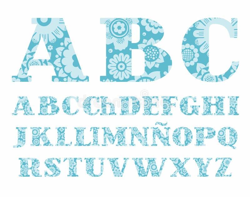 Das Spanische Alphabet, Farben, Dekorativ, Blau, Vektor Vektor ...