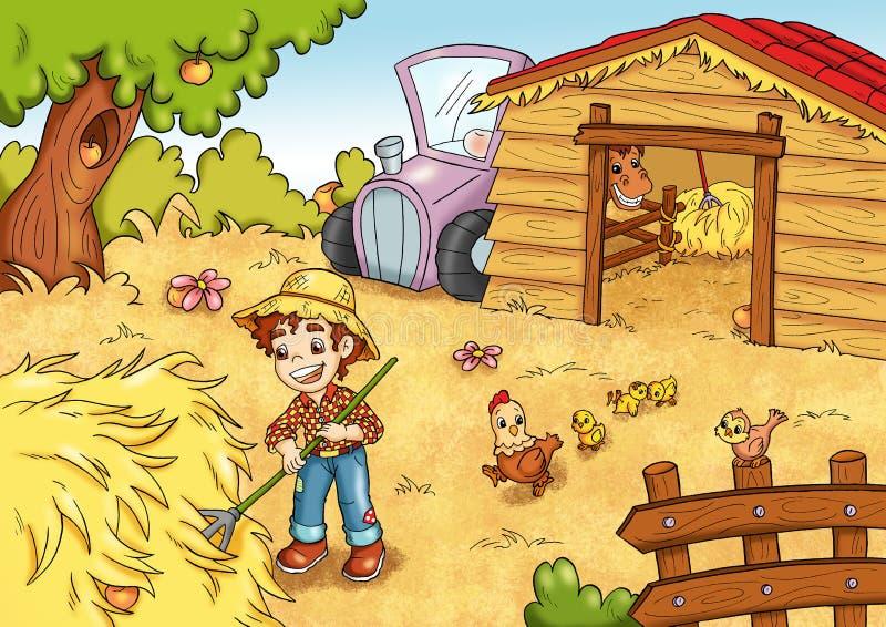 Das Spiel der 7 Äpfel versteckt im Bauernhof vektor abbildung