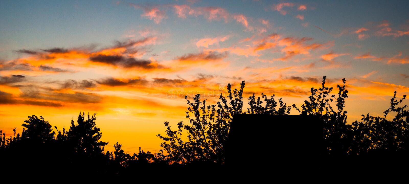 Das Spiel von Schatten während des Frühlingssonnenuntergangs lizenzfreie stockfotografie