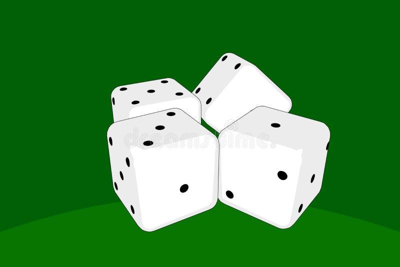 Das Spielen würfelt auf grünem Hintergrund lizenzfreies stockfoto