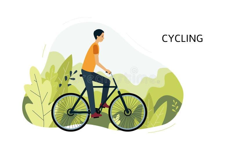 Das Sportlerreitfahrrad oder -fahrrad, die in der Parkvektorillustration im Freien sind, lokalisierten vektor abbildung