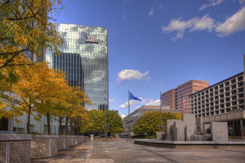 Das Stadtzentrum in Hartford, Connecticut stockbild