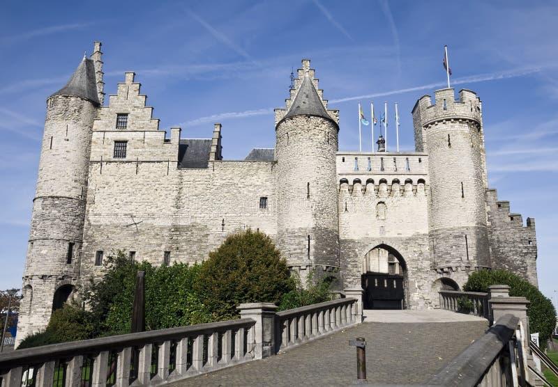 Das Steen-Schloss in Antwerpen lizenzfreies stockfoto