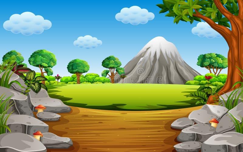 Das Stein-montain mit dem großen Stein und dem hohen Baum stock abbildung