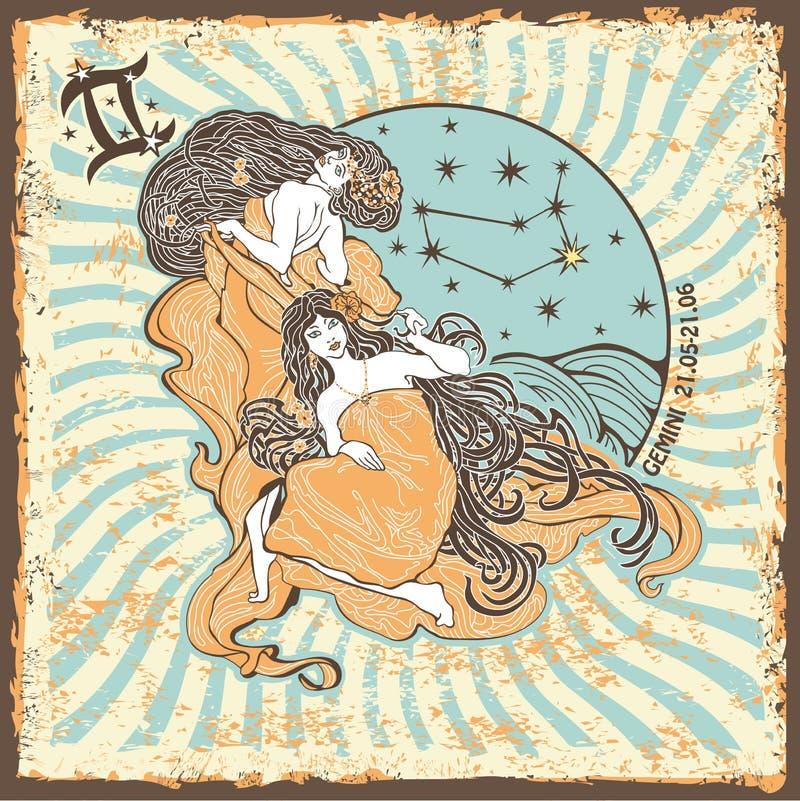 Das Sternzeichen der Zwillingsfrau Weinlese-Horoskopkarte lizenzfreie abbildung