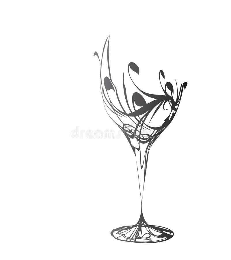 Das stilisiert Weinglas stockfotografie