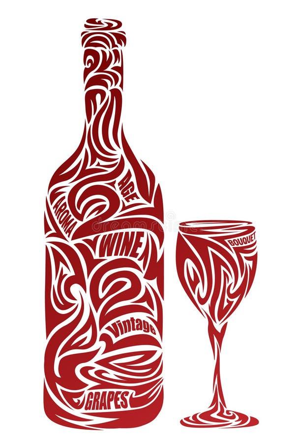 Das stilisiert Weinglas und -flasche vektor abbildung