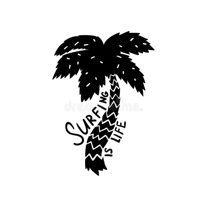 Das Surfen ist Lebenmotivzitatlogoschablone, Hand gezeichnetes Gestaltungselement kann für Brandungsclub, Shop, Kleidung verwende lizenzfreie abbildung