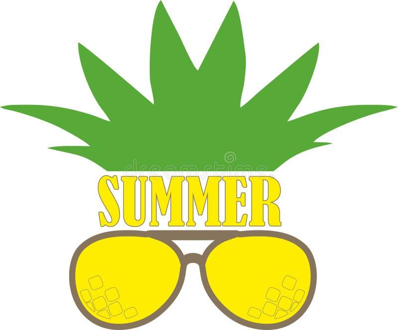 Das Symbol der Ananas in der gelben Sonnenbrille, der Aufkleber: Sommer lizenzfreie stockfotografie