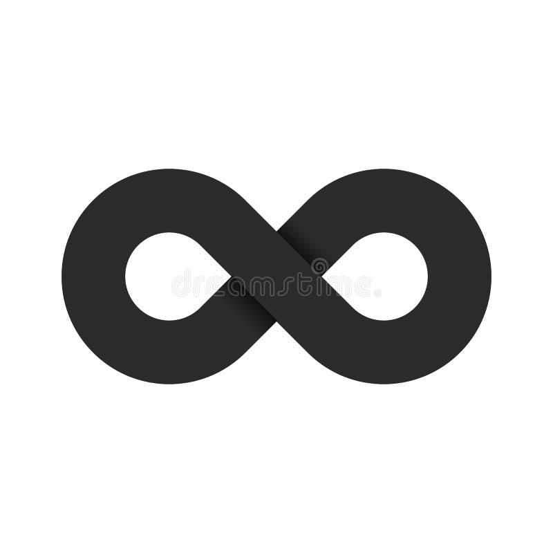 Das Symbol von Unendlichkeit der schwarzen Farbe wird auf einem weißen Hintergrund lokalisiert Flache Art 3d Weiche Schatten Die  lizenzfreie abbildung