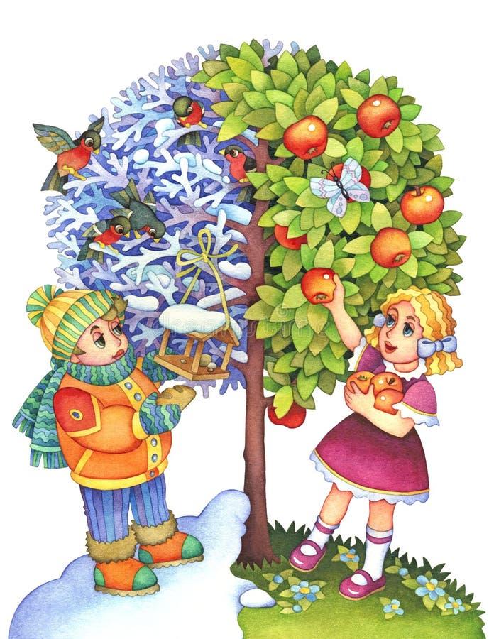 Das symbolische Bild der Jahreszeiten stock abbildung