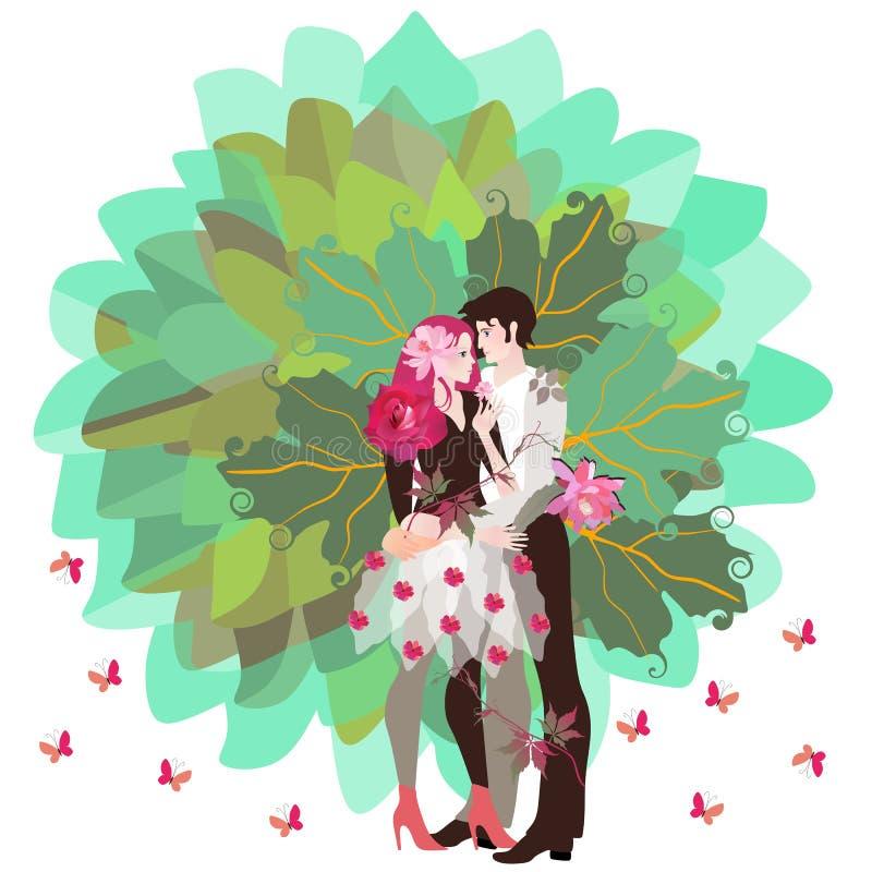Das symbolische Bild des Baums des Lebens mit dem Stamm in Form eines umarmenden jungen glücklichen Paars und rosa Schmetterlinge stock abbildung
