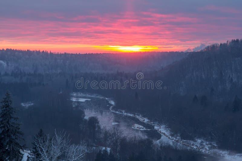 Das Tal des Flusses Gauja im Winter im Sonnenuntergang, Natur stockbild