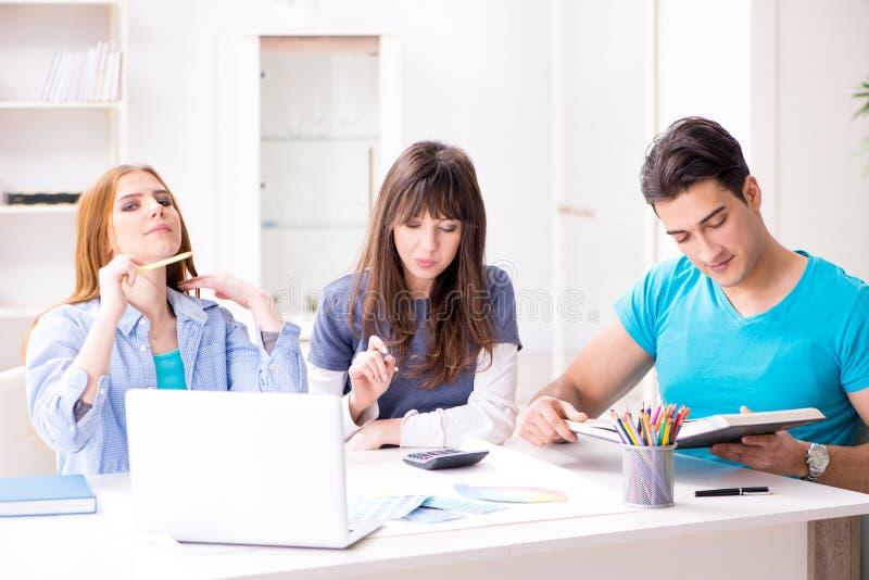 Das Team von den Designern, die neues Innenprojekt besprechen stockfotos