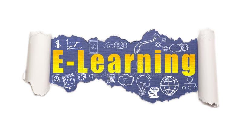 Das Text E-Learning hinter heftigem Weißbuch stockfotos