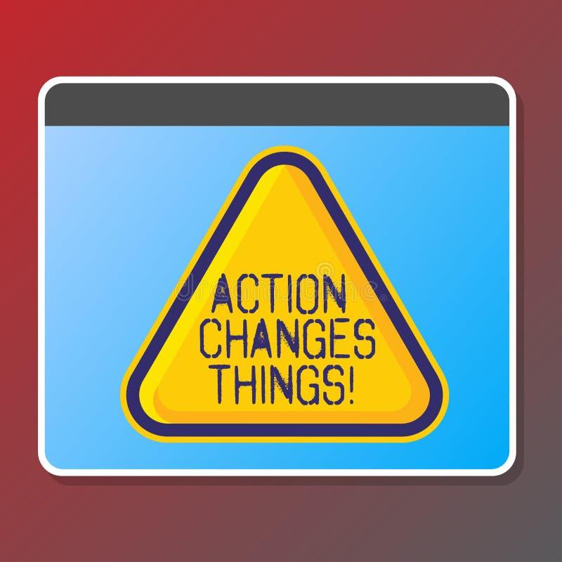 Das Textzeichen, das Aktion zeigt, ändert Sachen Das Begriffsfoto, das etwas tut, ist wie Kette verbessern sich reflektiert vektor abbildung